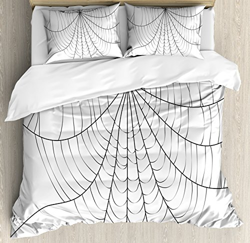 Spider Web Duvet Cover Set Queen Size by Ambesonne, Close Up Cobweb Design Monochrome Design Elements Catching Network Fear, Decorative 3 Piece Bedding Set with 2 Pillow Shams, Grey Black White