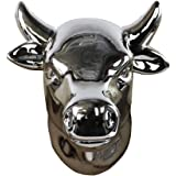 Urban Trends Ceramic Cow Head Wall Decor, Polished Chrome Silver