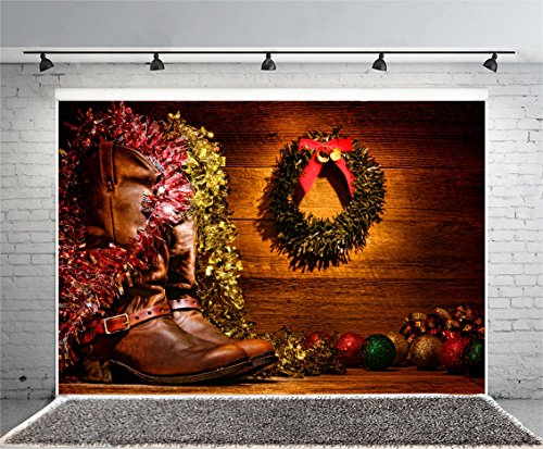 Laeacco 7x5ft American West Rodeo Cowboy Boots Christmas Card Photography Background Vintage Leather Wood Cabin Festival Christmas Decoration Wreath Balls Western Motif Decor Nostalgic Photo Backdrop (Photo Cards Cowboy Christmas)