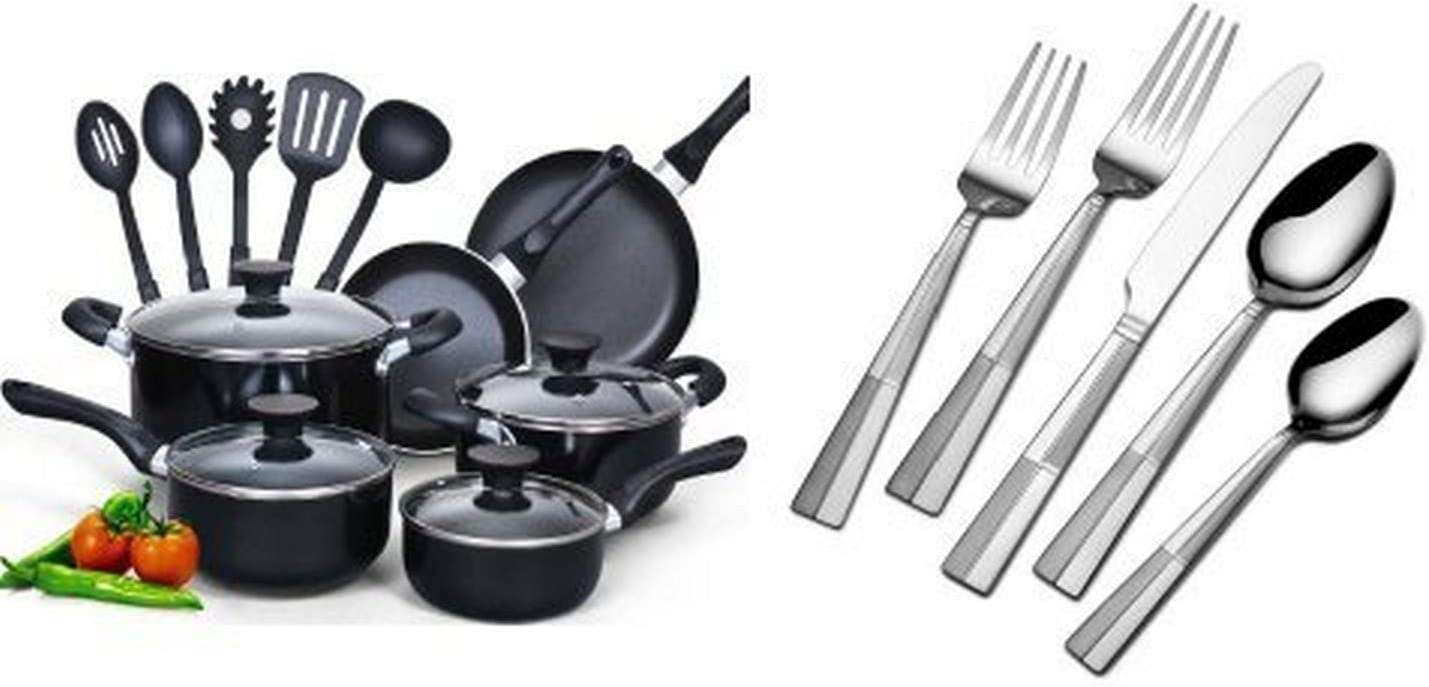 Cook N Home 15 Piece Non stick Black Soft handle Cookware Set and International Silver Arabesque Frost 18/0 Stainless Steel Flatware, 20-Piece Set, Service for 4 (5114325) Bundle