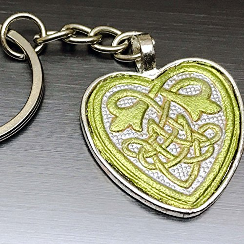 Mother Nature Goddess Earth Costume (Hand-Painted Tooled Veg Tanned Leather Greenery Celtic Heart Keychain)