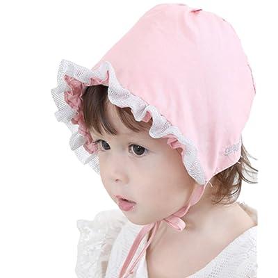 Niyage Cute Baby Girl Sun Hat with Chin Strap Baby Bonnets Thin Pilot Cap ba46a4a56f7d
