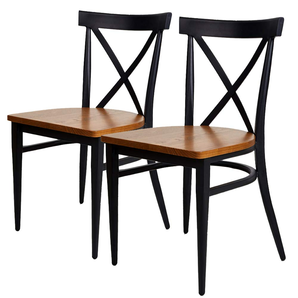 Livebest 2 packs cross back dining chairs metal leg side chairs with wood seatstackable fully assembled modern furniture for retro bistro kitchen cafe