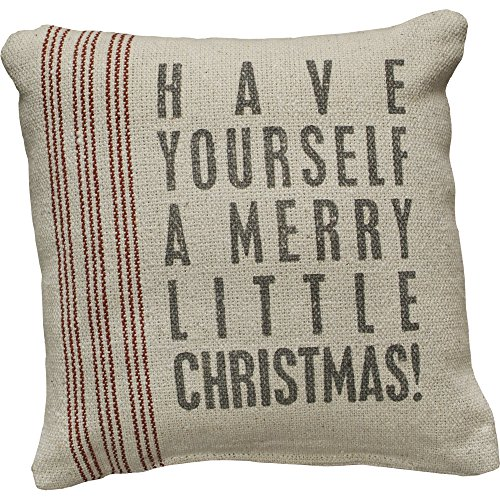 Primitives by Kathy Vintage Flour Sack Style Holiday, throw pillow, Merry Little (Primitive Christmas)