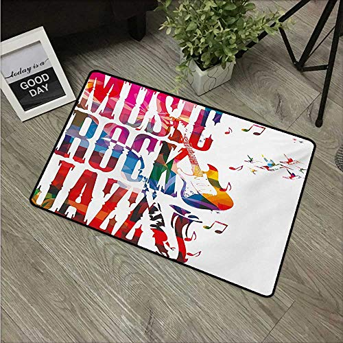 (HRoomDecor Musical,Doormat Music Rock Jazz Lettering with Bass Guitar Saxophone Notes Harmony Illustration W 31