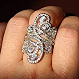 Gorgeous Fashion Women 925 Silver White Topaz Ring Wedding Engagement Jewelry (8)