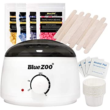 BlueZOO Home Waxing Kit Wax Warmer for Body Face Bikini Area Legs Hair Removal with 4 Packs of Hard Wax Beans 10pcs Wax Applicator Sticks 10pcs Mini Melting Cups and 5pcs Alcohol Prep Pads