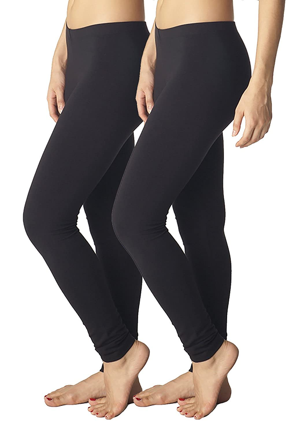 san francisco a742e 4f386 Amazon.com  In Touch 2 Pack Womens Cotton Spandex Leggings  Clothing