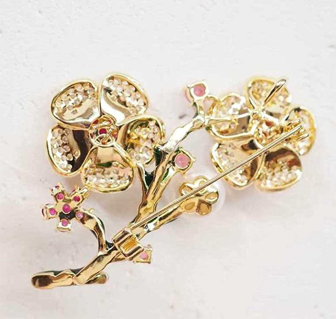 SUNNYHER Fashion CZ Jewelry Rhinestone Crystal Pearl 9mm Flower Bouquet Brooch Enamel Lapel Pin for Women Girl