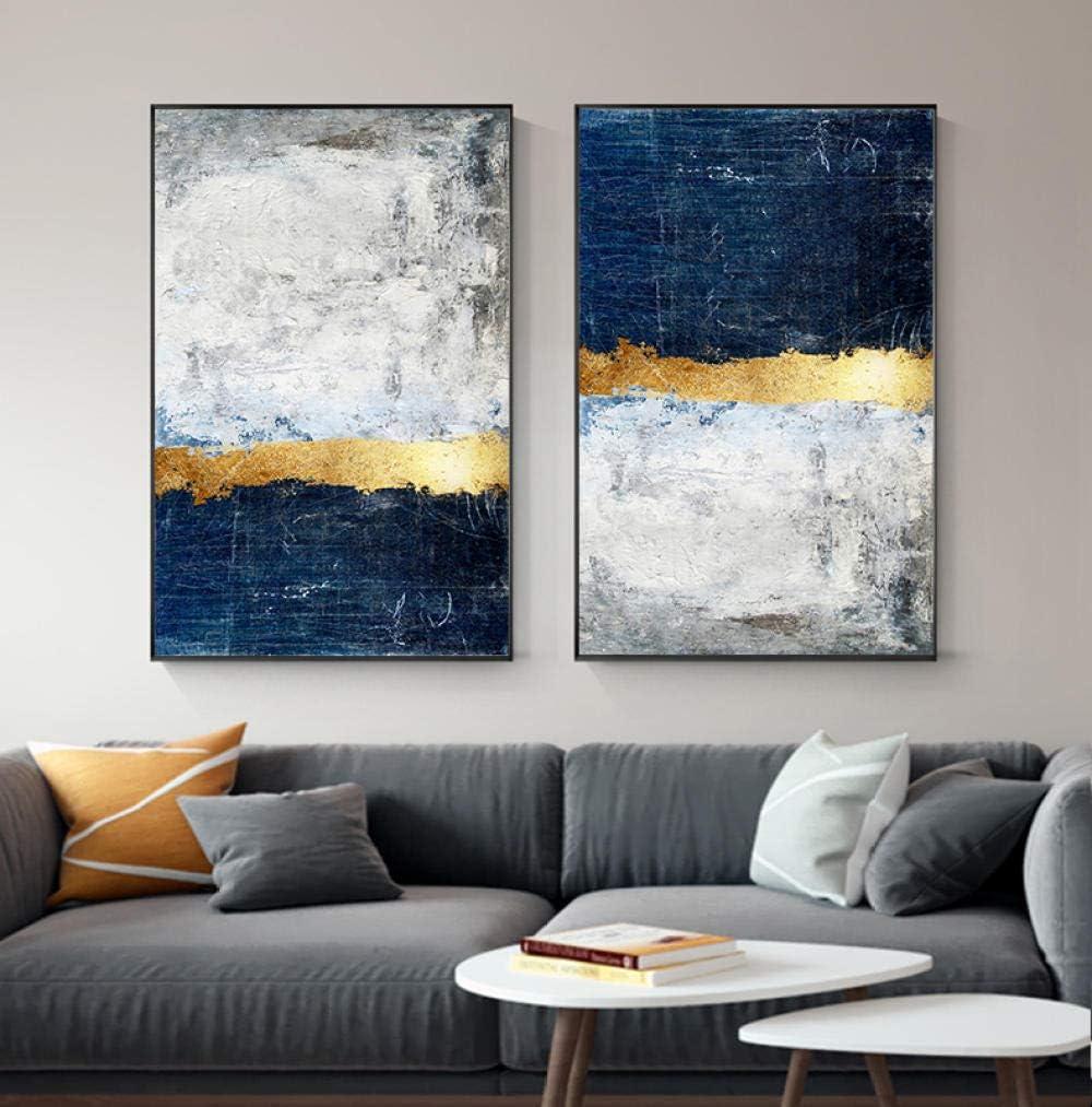 HMOTR Cuadro de Arte de Pared de Oro Moderno Cuadro de Pintura de Bloque de lámina de Oro Abstracto Impresión de Cartel Azul para Sala de Estar Decoración Azul Marino -50x70cmx2pcs_no_Frame