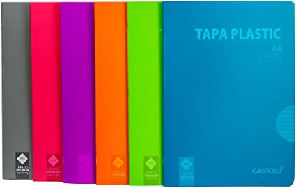 Casterli - Pack de 6 cuadernos grapado, tapa plástico, tamaño A4 ...