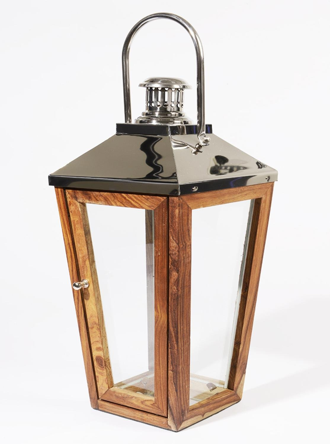24.75'' Beach Day Over-Sized Stainless Steel and Sheesham Wood Modern Pillar Candle Lantern