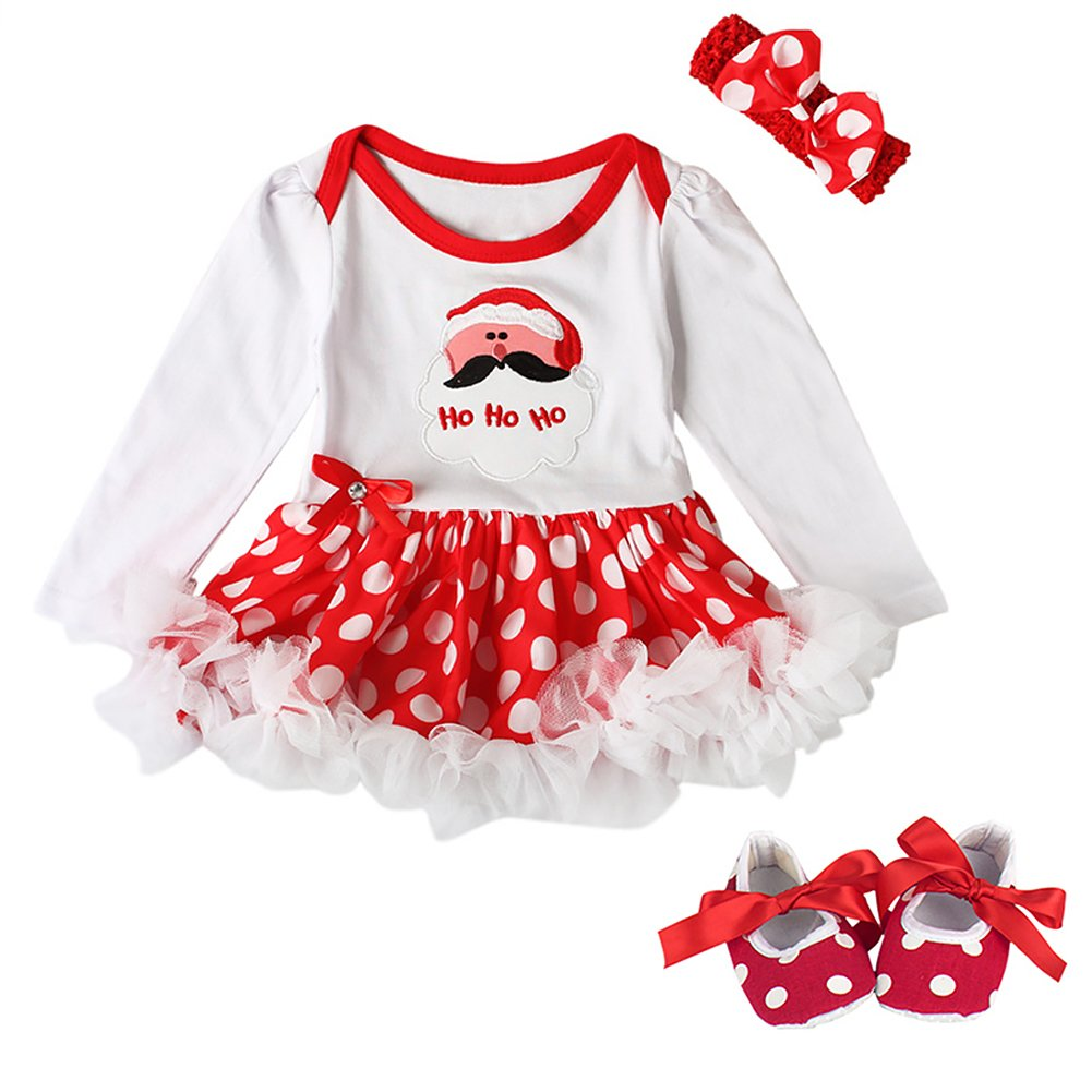 Baby Girls My 1st Christmas Costume Romper Dress Headband Leg Warmers Shoes Santa Claus Polka Dots Bodysuit Ruffle Tutu Skirt Newborn Infant Toddler Princess Xmas Fancy Dress Up Party Outfit Set