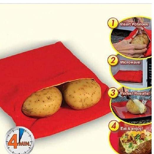 TOSSPER Rojo Lavable Olla Bolsa de Patatas al Horno de cocción con ...