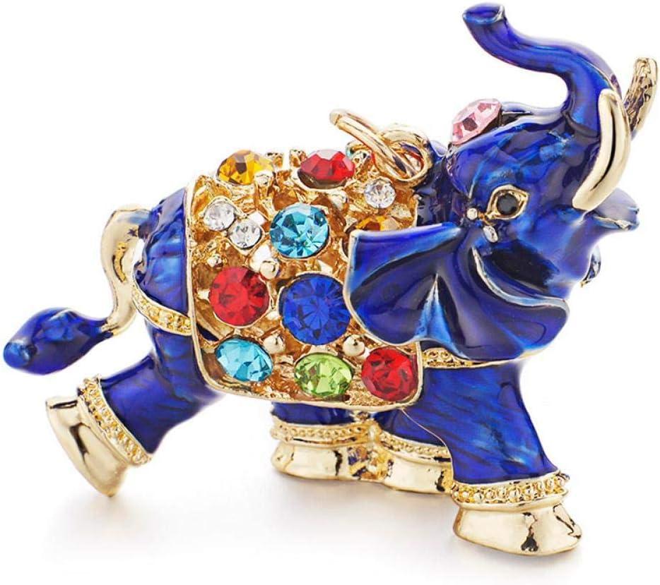 JIAXIA Cadenas de Llavero de Elefante auspicioso 3D, llaveros con Colgante de Bolsa de Cristal Colorido de Esmalte Entero para Mujeres