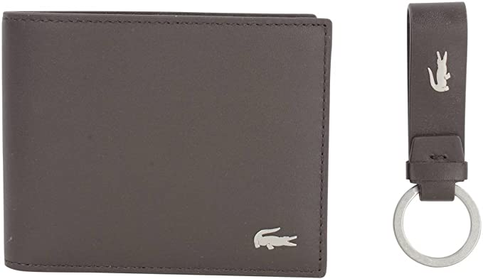 8223571bfd2ec1 Lacoste Mens Small Billfold and Key Ring Set - Dark Brown at Amazon ...