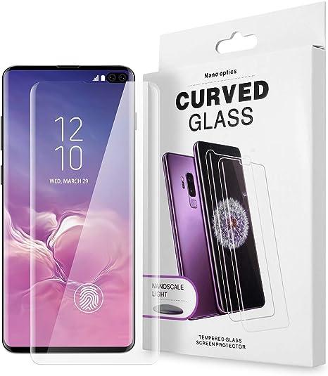 AICase Protector de Pantalla para Samsung Galaxy S10 Plus,Trabajar con ID de Huella Digital,Cristal Templado UV de Cobertura para Samsung Galaxy S10 Plus (1 Pieza): Amazon.es: Electrónica