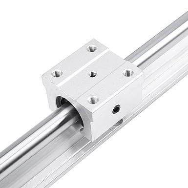 Resistencia al desgaste 2 piezas SBR12-500mm 12MM Riel de rodamiento lineal Gu/ía de deslizamiento Eje Rieles de gu/ía lineal SBR12-500mm Riel de rodamiento lineal 4 piezas Bloques SBR12UU
