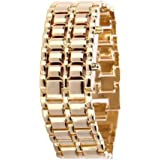 Soleasy@ 8-LED Blue Light Digit Stainless Steel Bracelet Wrist Watch Gold WTH0353
