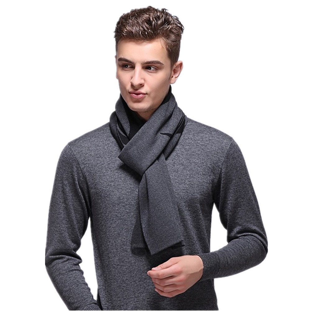 Kagogo Men's Wool Blend Knitted Business Casual Scarf - Winter Soft Warm Neckwear Scarves (Grey)