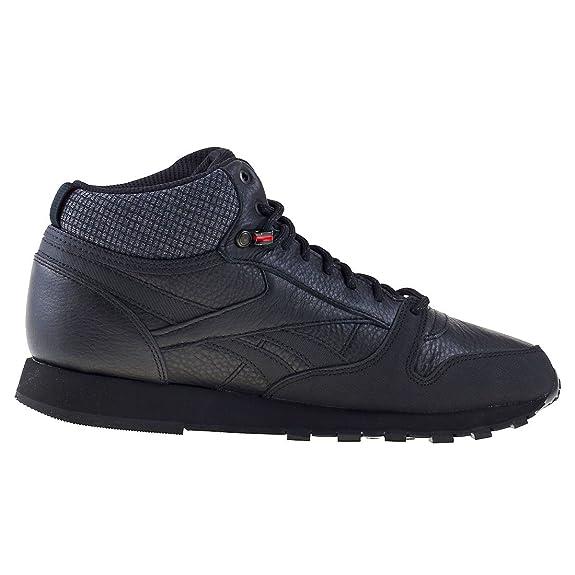 Reebok Cl Leather Mid TWD, Chaussures de Fitness Homme, Multicolore-Vert/Gris/Orange (Hunter Green/Stone Grey/Energy Orange), 41 EU