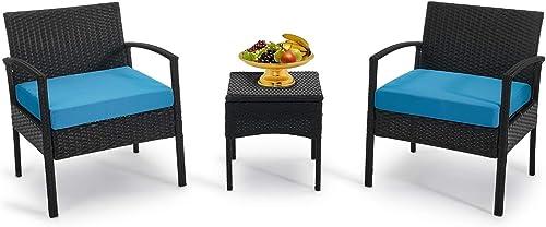 GREARDEN 3 Pieces Outdoor Patio Furniture Sets Patio Conversation Set Bistro Set Rattan Chairs - a good cheap patio conversation set