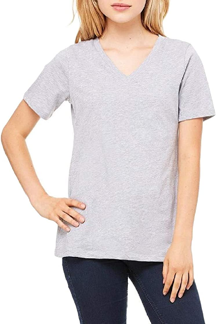 Joe Wenko Womens Comfort Short Sleeve V Neck Pullover Pure Color Tops T-Shirt