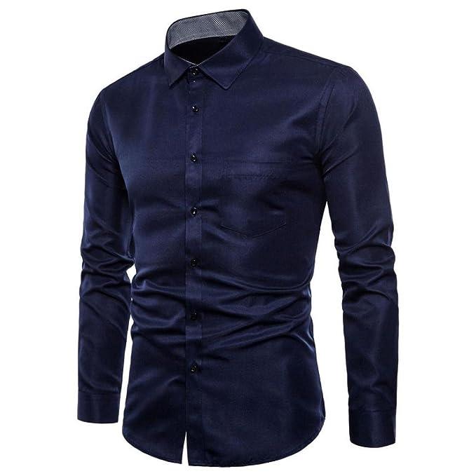 Camisas Formales Manga Larga,Blusas Hombre,👔Camisa de Corte Slim Oxford de Manga Larga para Hombre Casual tee Camisas de Vestir Blusa Top Hombre por Venmo: ...