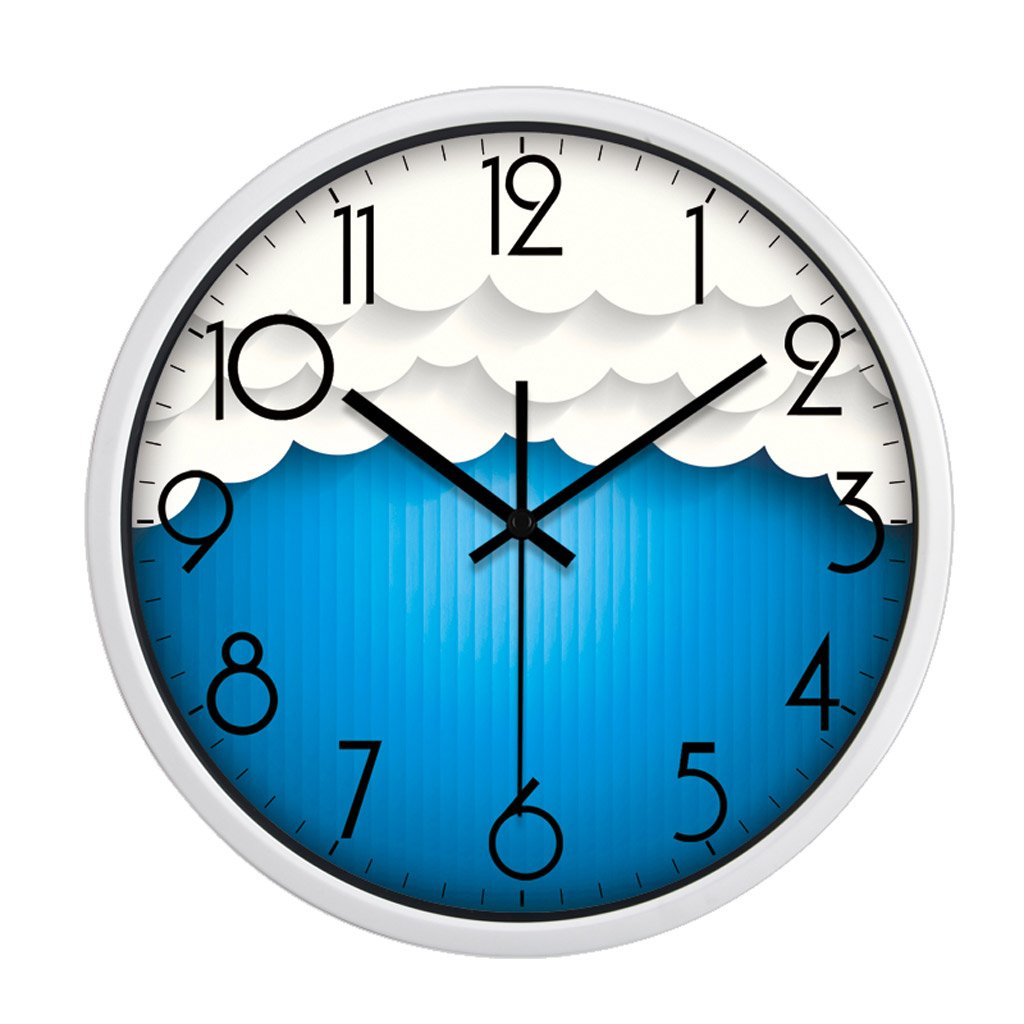 掛け時計 キッド白い雲のパターンクリスマスウォールクロック青い壁の装飾ミュート寝室 Rollsnownow (色 : 白, サイズ さいず : 12インチ) B07FP9K9LZ 12インチ|白 白 12インチ