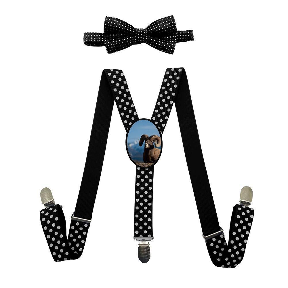 Qujki Sheep Ram Goat Suspenders Bowtie Set-Adjustable Length