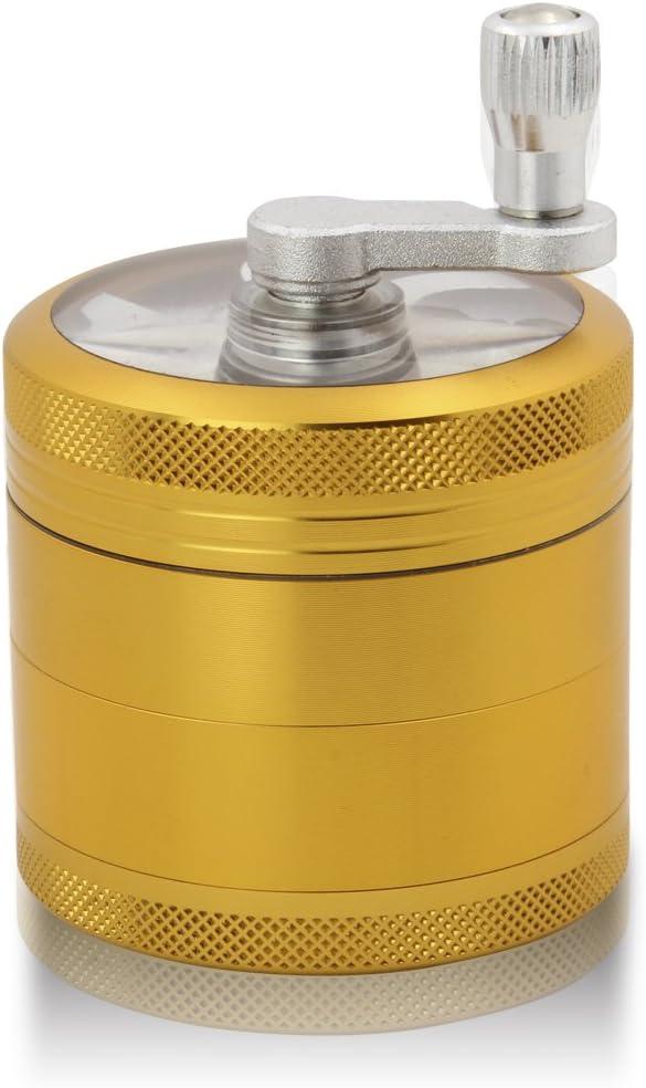 DCOU Grinder Molinillo Manual con Manivela de Aluminio Irrompible para Hierbas y Especias Atrapa Polen 4 partes 55mm 2.2 pulgadas (Oro 55 MM)