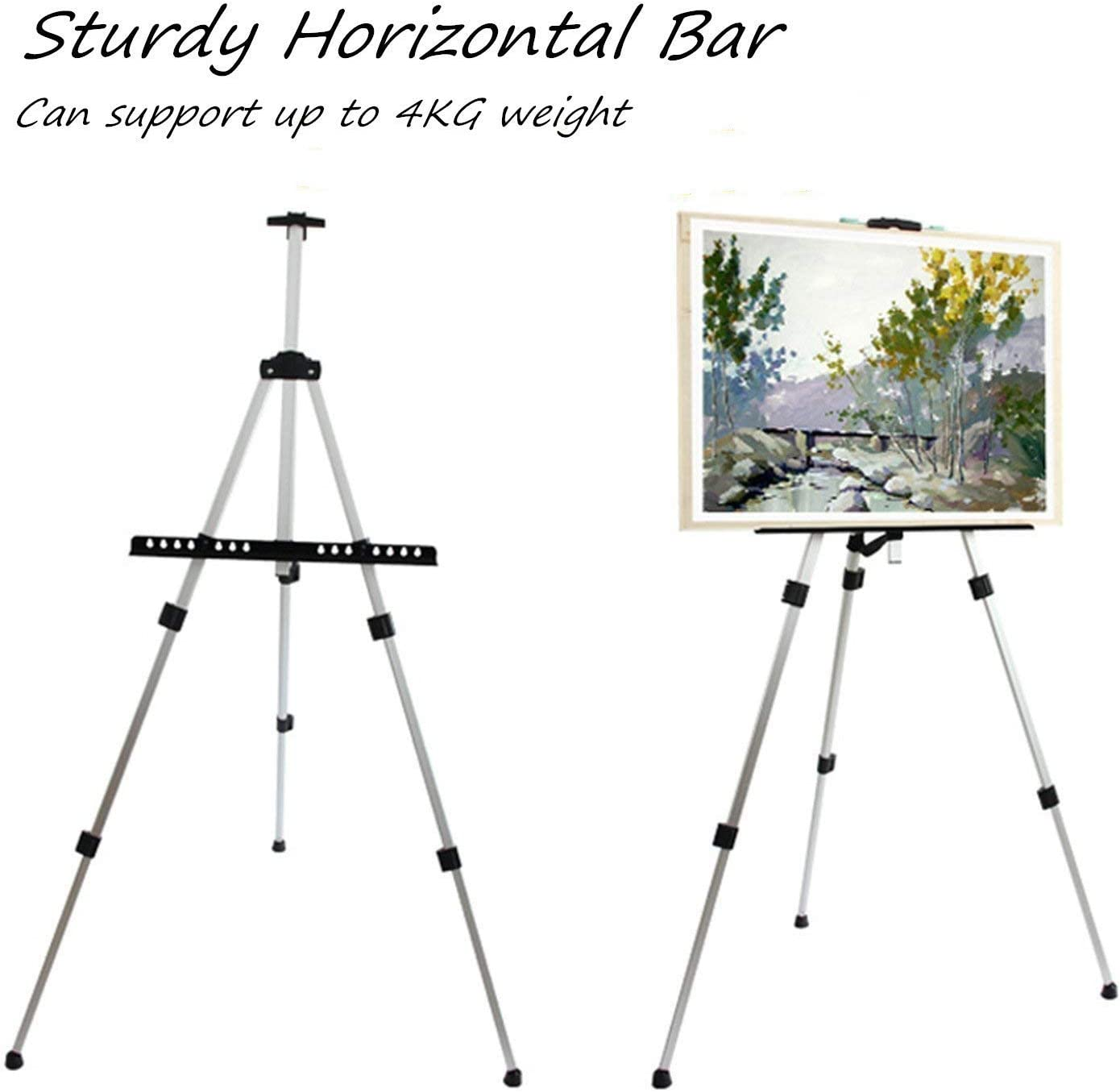 Amzdeal Aluminium Easel Adjustable 52-162 cm Large Easel with Bag Foldable Stable Portable Maximum Load 4 K G for Poster Painting