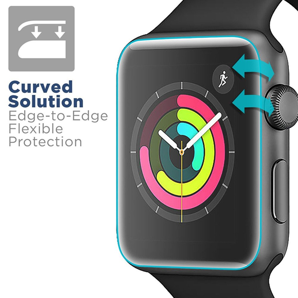 [6 PACK] Apple Watch Screen Protector 38mm Series 3 2 1, KAMII Full Coverage Anti-Bubble Self-Healing Case Friendly HD Clear Film Screen Protector for Apple Watch 38mm by KAMII (Image #4)