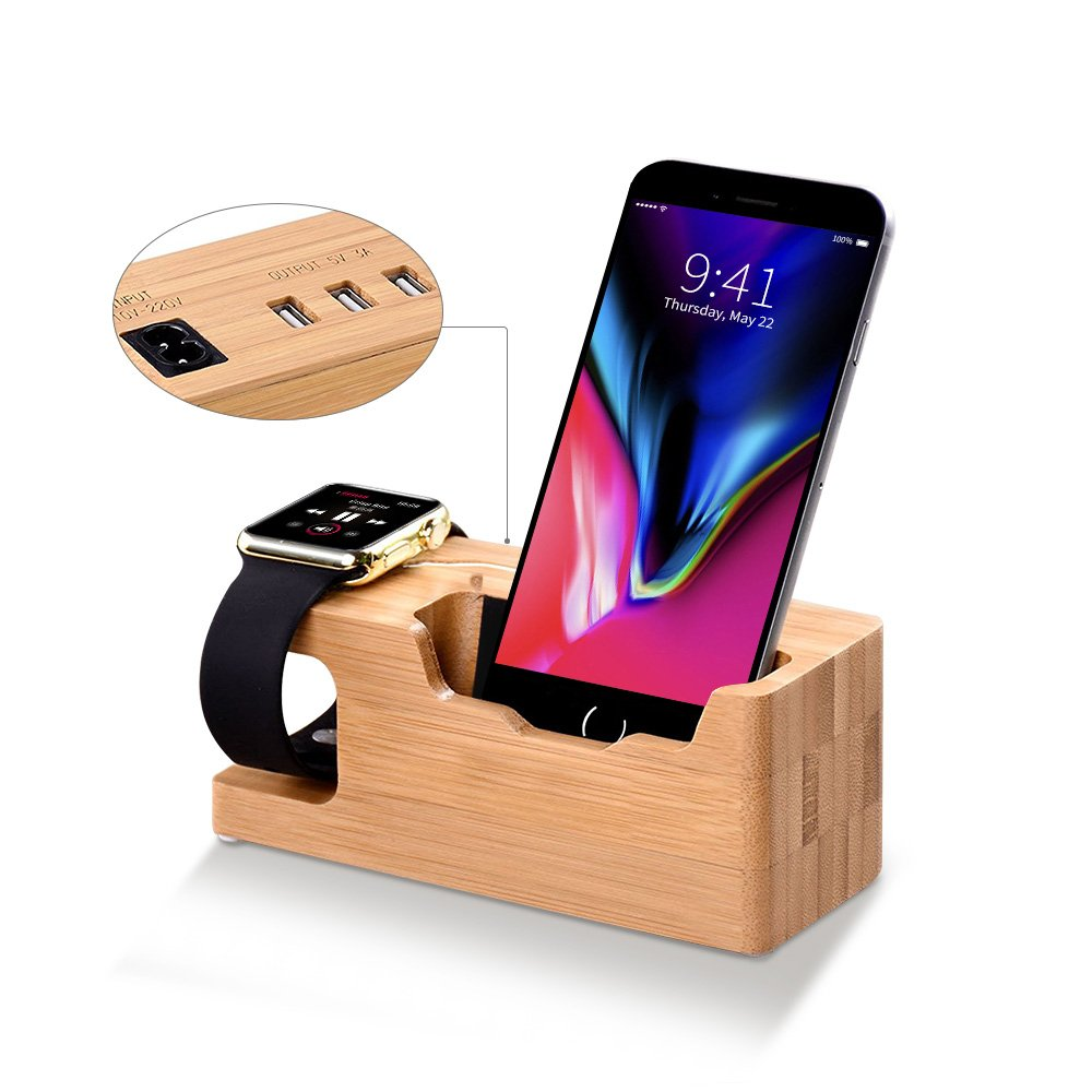 Apple Watch Stand, T-CORE Multi Device Charging Station with 3 USB Ports 3.0 Hub, Bamboo Wood Charging Stand Bracket Docking Station Compatible iPhone X/8/7s/6s/6 PLUS, iWatch 38mm/42mm