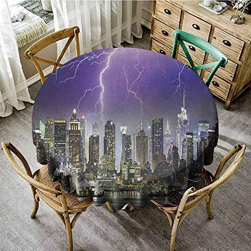 Outdoor Round Tablecloth with Umbrella Hole Orange 43