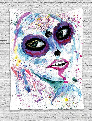 [Supersoft Fleece Throw Blanket Girly Collection Grunge Halloween Lady with Sugar Skull Make Up Creepy Dead Face Gothic Woman Artsy Print Blue] (Sugar Skull Makeup Ideas)