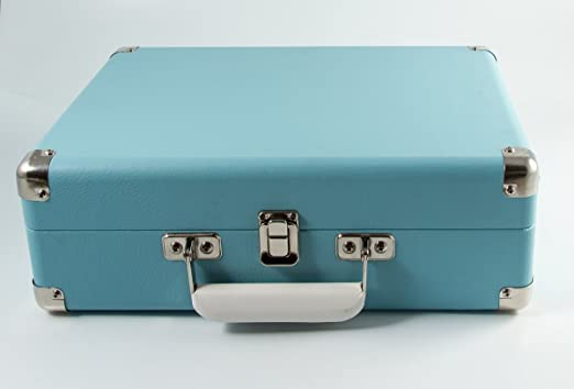 GPO Attache Briefcase Retro Vinyl Turntable con grabación USB - Azul