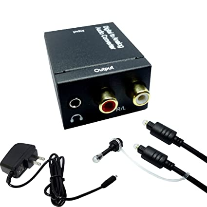 Digital Audio Converter Parallel World Digital Optical Coax to Analog RCA and 3.5mm Stereo Audio