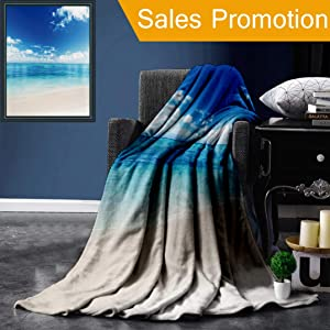 """Unique Custom Flannel Blankets Ocean Decor Collection Atlantic Dominican Carribean Island Beach View in Summer Photography Wind Super Soft Blanketry for Bed Couch, Twin Size 60"""" x 80"""""""