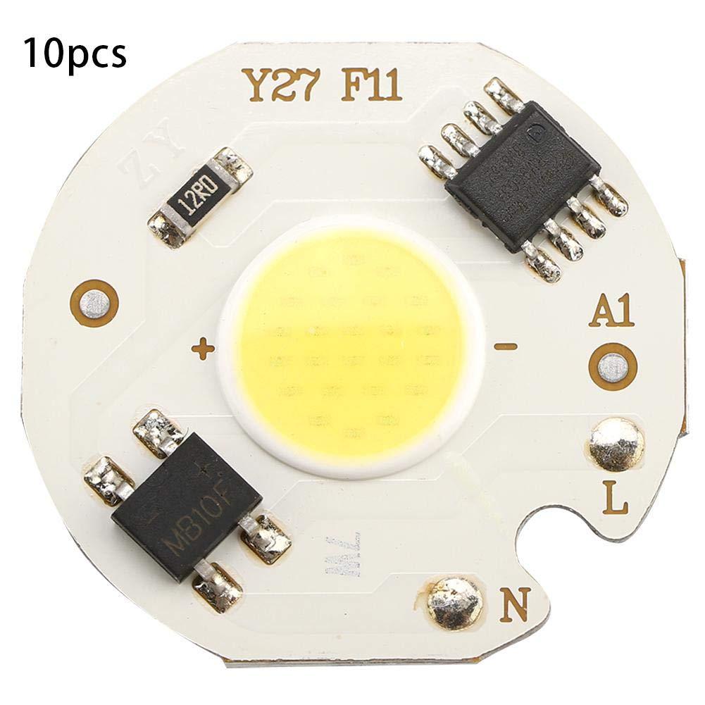 koulate Cob Chip Light,Ac220V High Bright Permanent Integrated Cob Bead, Source Headlamp for Traffic Lighting, Landscape Lighting, Indoor Lighting (1#)
