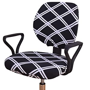 Echaprey Two-Piece Universal Anti-Dust Stretchable Rotating Swivel Computer Office Chair Cover Washable Removable Armchair Covers (Style 1)