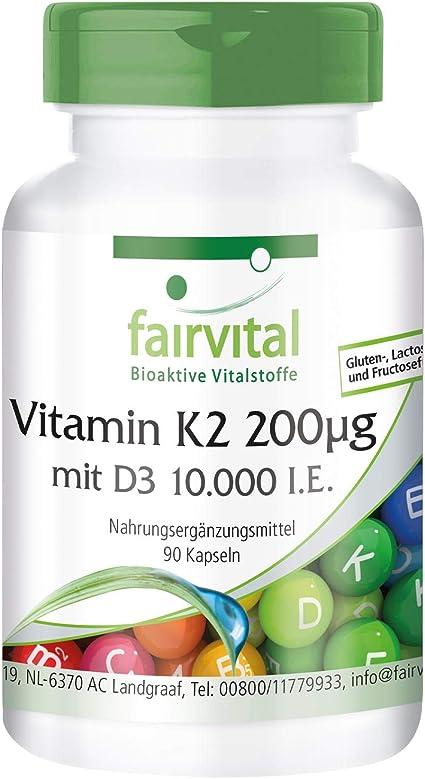 Vitamina K2 200 mcg con D3 10000 IU - Dosis elevada - 90 Cápsulas ...