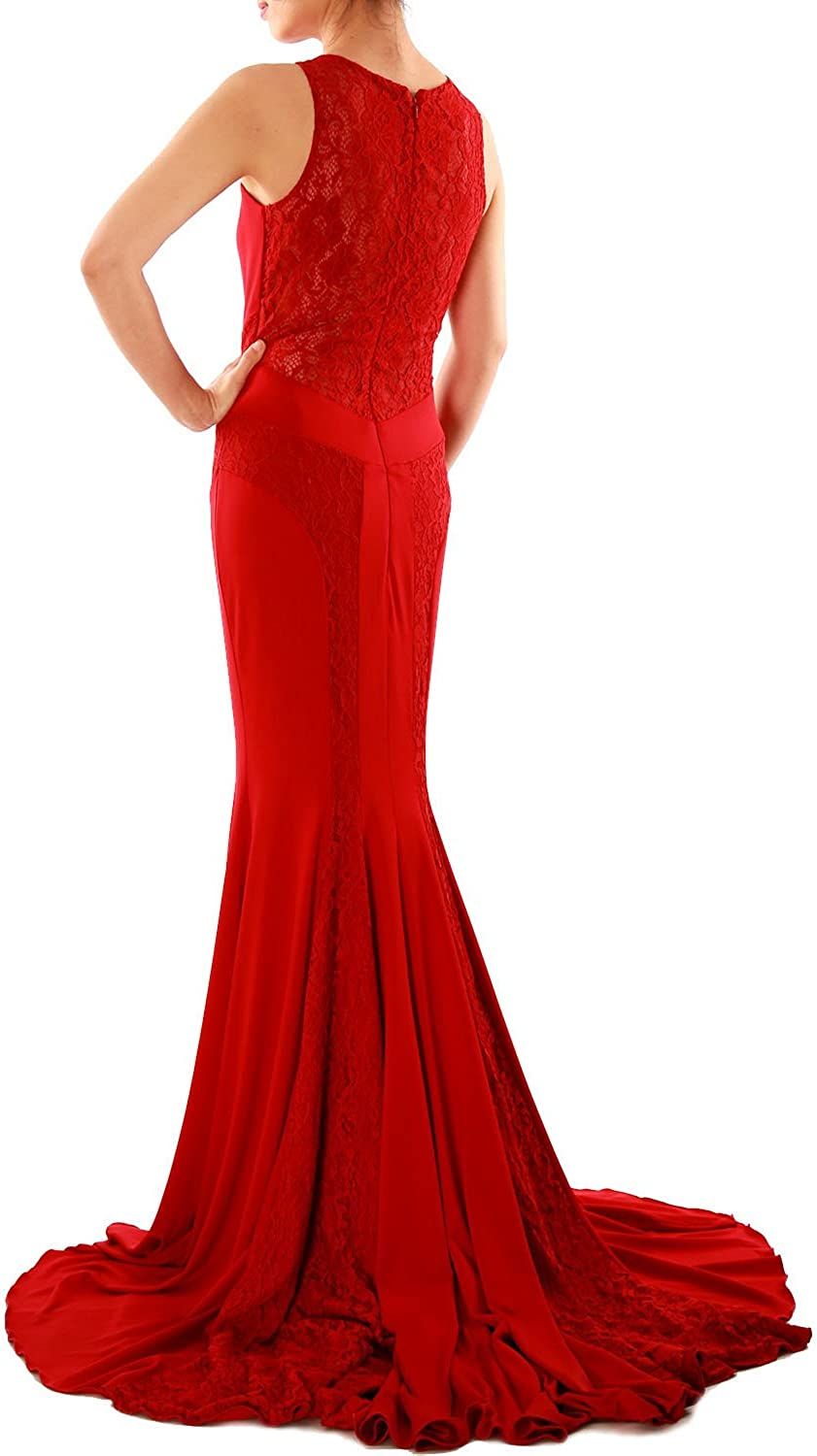 MACloth Women Mermaid Lace Boat Neck Jersey Long Formal Evening Dress Prom Gown Black