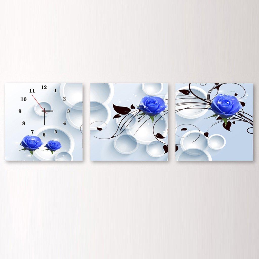 装飾的な背景クリエイティブアート絵画ウォールクロックアートマイクロフレームクリスタルクロックトリプル吊りフレームレス絵画のリビングルームダイニングルーム、3つの部分のための水平なバージョン (サイズ さいず : 60 cm 60 cm) B07DMK6ZHR 60 cm 60 cm 60 cm 60 cm