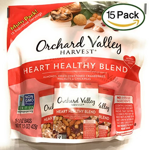 Orchard Valley Harvest Snack Packs- Heart Healthy Blend Trail Mix, Mixed Nuts - 15 Ct. Multi Pack, Non-GMO Project Verified, No Artificial Ingredients, 15 ounces (15 Individual Packs)
