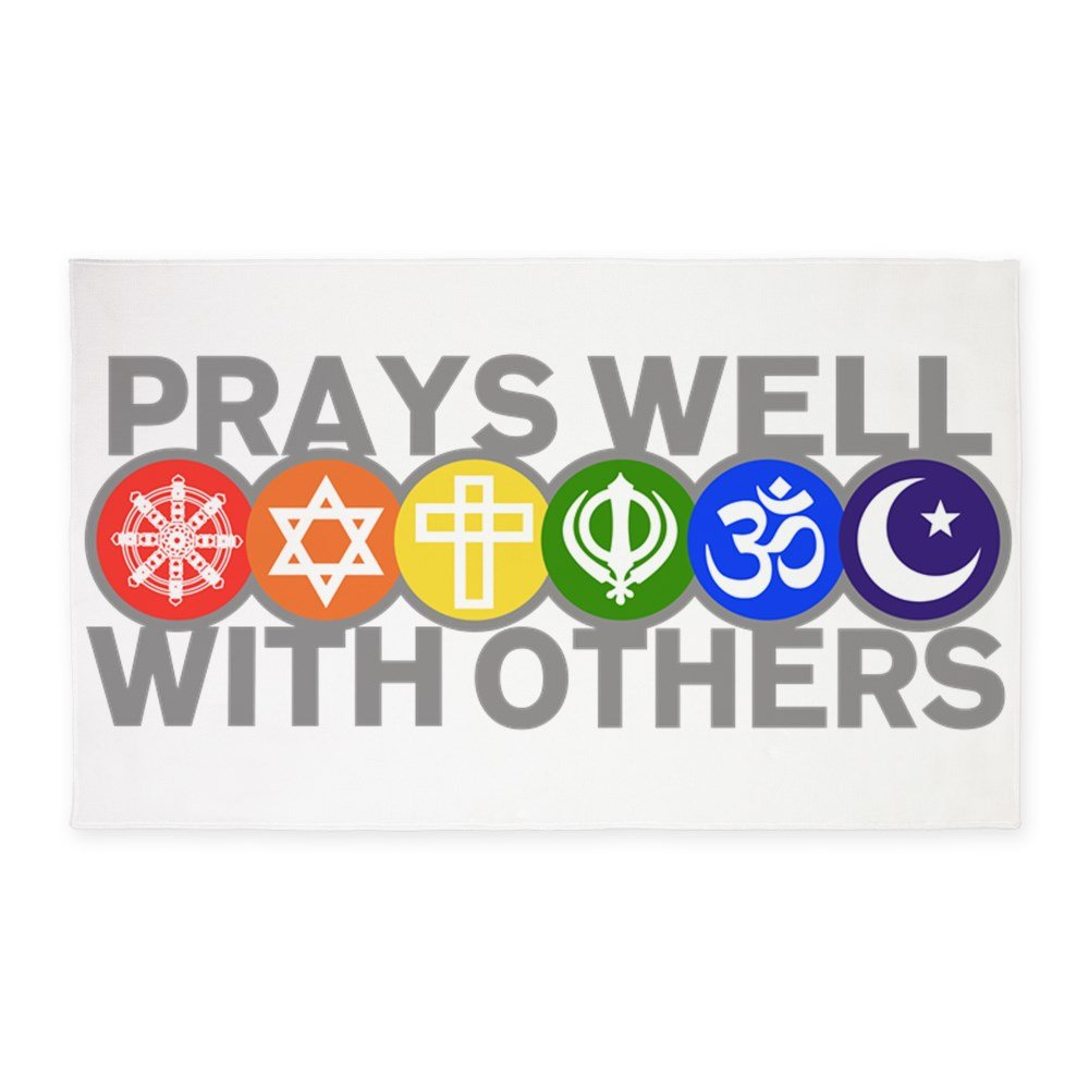 3' x 5' Area Rug Prays Well With Others Peace Symbol