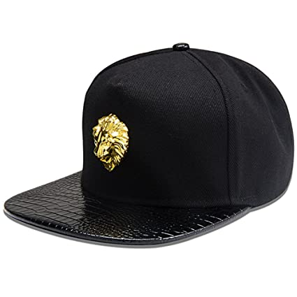 MCSAYS Hip Hop Style Crsytal Gold Animal Lion Pendant Snapback Cotton Sports Caps Baseball Cap/