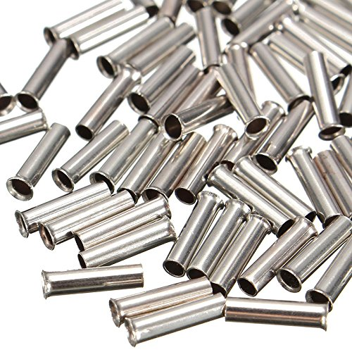 Davitu 100pcs Non-Insulated Wire Strip Copper Ferrules Kits Cable Housing  Ferrule End Set Tin Plating 0 5mm-16mm2 - (Pins: 1 mm2)