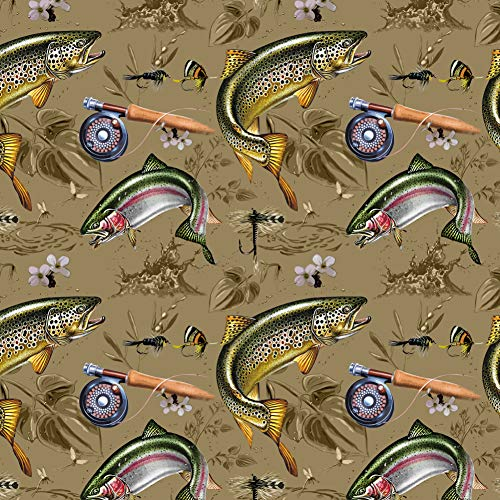 GRAPHICS & MORE Trout Stream Fish Fly Fishing Rod Reel Premium Roll Gift Wrap Wrapping Paper