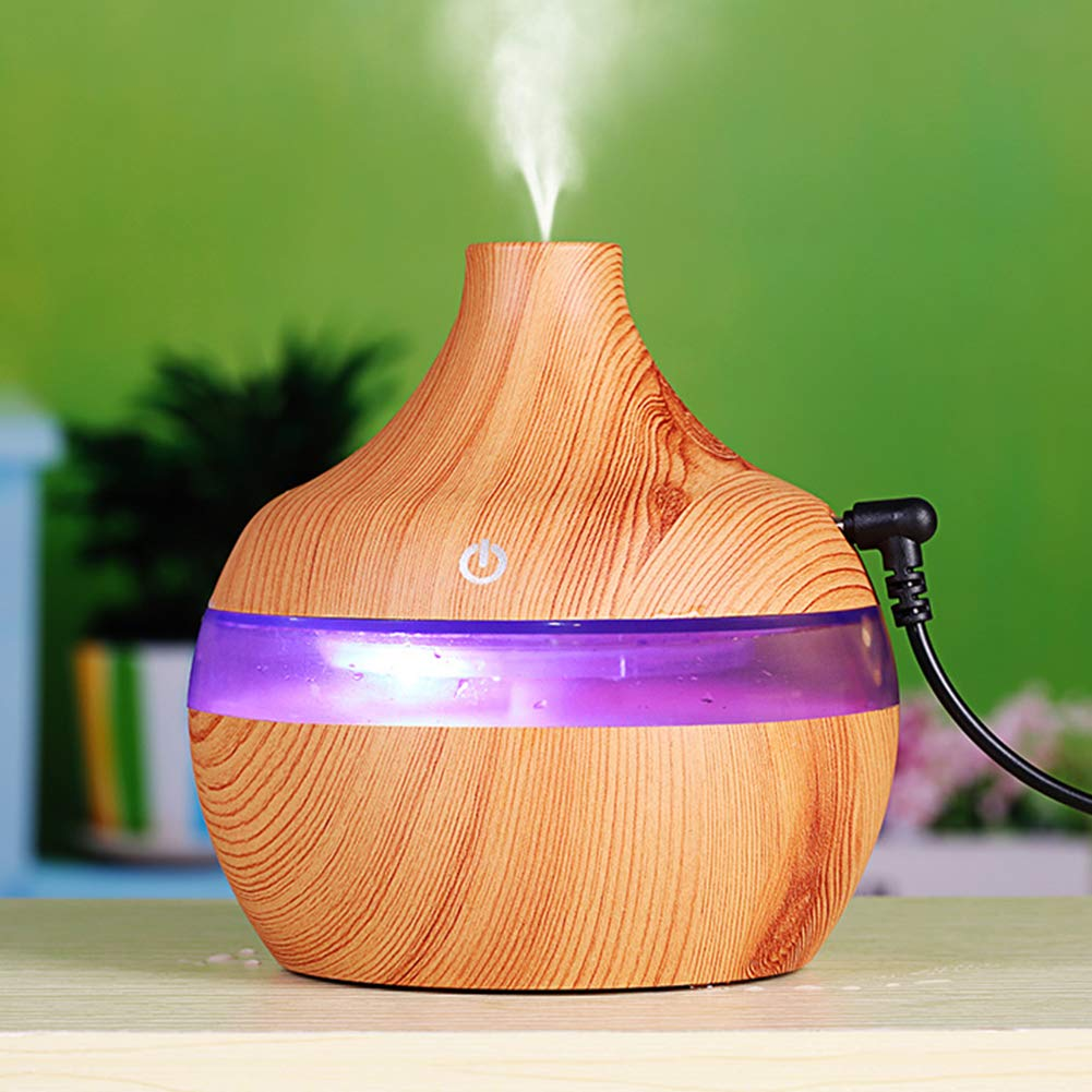yanQxIzbiu Essential Oil Diffuser Wood Grain USB 300ml Humidifier Aroma Diffuser Mist Maker Colorful LED Light - Wood Grain for Bedroom Living Room Study Yoga Spa by yanQxIzbiu (Image #9)